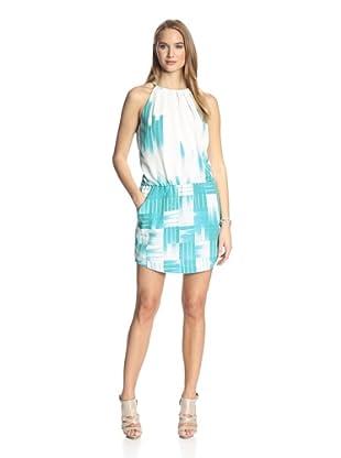 Ali Ro Women's Printed Dress with Pleat Detail (Celeste Multi)