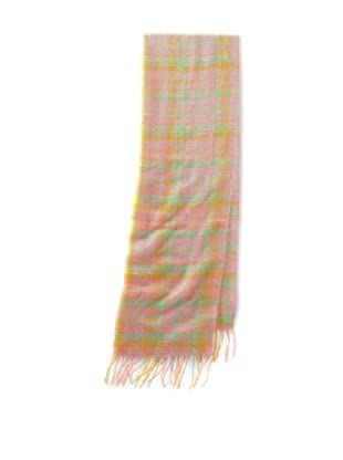 Gregory Parkinson Women's Plaid Scarf (Pink/Orange)