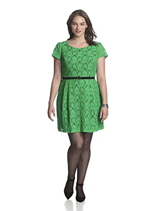 Single Plus Women's Lace Swing Dress (Green/Black)