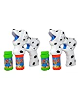 Haktoys (2 Pack) Dalmatian Dog Bubble Shooter Gun With Light, Music & Barking Sound, 3 X Aa Batteries, And Extra Bottle