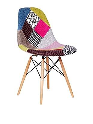 Lo+Demoda Stuhl 2er Set Wooden Patchwork mehrfarbig