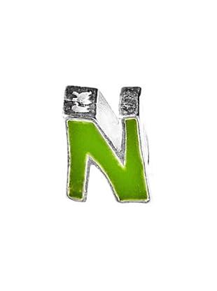 Angel Devil Abalorio de Plata de Ley 925 Letra N Verde verde