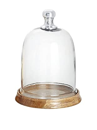 Torre & Tagus Sienna Round Glass Dome On Wooden Base