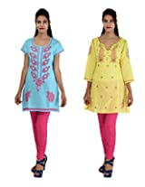 Anpassa Women's Poly Cotton Sky Blue and Yellow Kurti Combo Set - Large