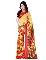 Riti Riwaz Yellow & Red saree with unstitched blouse RVL335A