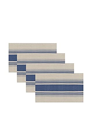 KAF Home Set of 4 Cote Herringbone Stripe Placemats, Navy/Flax