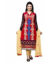 Khushali Fashion Women's Cotton Straight Dress Material (Mbt03 _Red _Free Size)