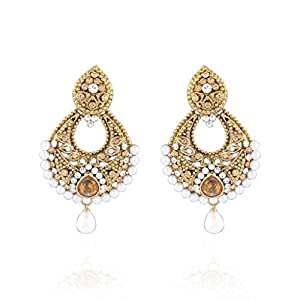 I Jewels Traditional Gold Plated Ramleela Inspired Pearl Earrings For Women (Gold) (E2145L)