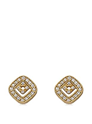 Riccova Retro Square-in-Square Earrings with CZs, Gold