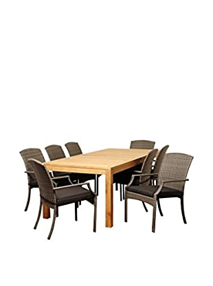Amazonia Teak Riverview 9-Piece Wicker Rectangular Dining Set with Cushions, Brown/Grey