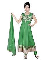 Divinee Green Net Readymade Anarkali Suit