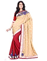 Sourbh Saree Patch Work Beige And Red Jacquard and Chiffon Half Half Style Best Sarees for Women (with color options) Party Wear,Women Clothing