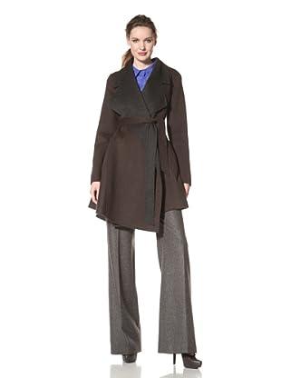 Dawn Levy Women's Ria Belted Wool Wrap Coat (Macchiato/Charcoal)