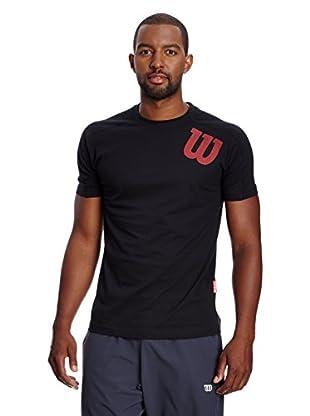 Wilson T-Shirt M Angled W Crew Bkg