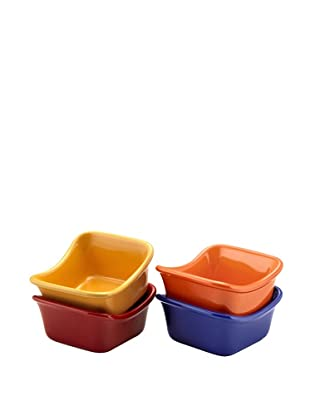 Rachael Ray Stoneware 3-Oz. Lil' Saucy Set of 4 Square Dipping Cups, Assorted