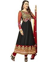 Pairahan Womens Georgette Anarkali Unstitched Dress Material (Kkp-010 _Black)