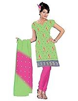 vardhman Green Chanderi Straight Dupata Work Dressmaterial Suit.