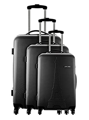 Platinium Set 3 Trolley 4 Ruedas Paris (Negro)