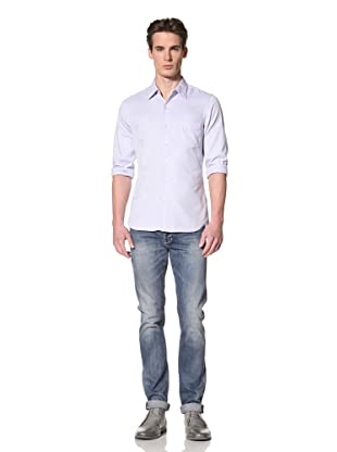 Onassis Men's Nyack Slim Oxford Contrast Stitch Shirt (Blue)