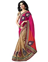 Ethnic Station Beige Lace Work Saree