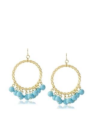 Yochi Turquoise Cluster Bead Hoop Earrings