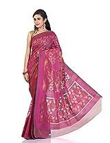 Rani Saahiba Pink Banaras Net Saree