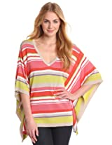 Anne Klein Women's Stripe V- Neck Poncho Sweater, Carnelian Multi, X-Small