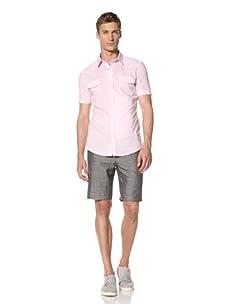 Dorsia Men's Joe Short Sleeve Snap Front Shirt (Pink)