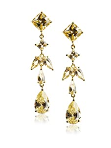 CZ by Kenneth Jay Lane Multi Stone Drop Earrings, Gold/Canary Yellow