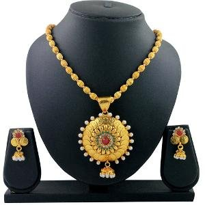 Gold Plated Pendant Set By Spargz - Temple Jewellery