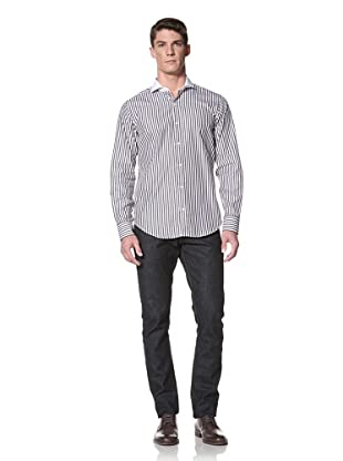 Simon Spurr Men's Striped Shirt with Solid Collar (white and black)