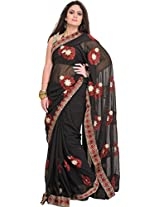 Exotic India Jet-Black Floral Embroidered Wedding Saree with Crystals an - Black
