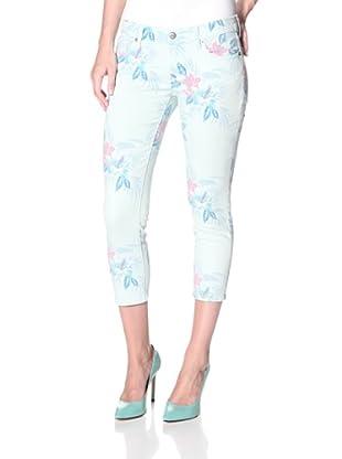 Driftwood Women's Hawaiian Print Crop Skinny Jean (Green)