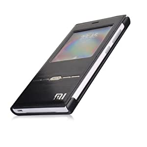 Metal Sense Touch Leather Flip Cover Case for Xiaomi Redmi 1S- Black