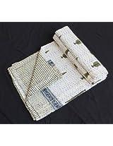 Worldoftextile Hand Block Print Cotton Kantha Bed cover hand made Cotton Quilt 3 Layer kantha quilt razai Bedsheet bedspread bedcover blanket