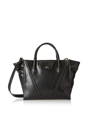 STEVEN by Steven Madden Women's Leather Satchel, Black