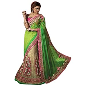 Green Net Designer Lehenga Saree - TBSASSTUD7117