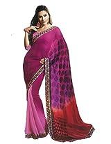 Faux Georgette Saree in Purple Colour for Casual Wear