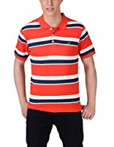 American Crew Men's Polo Collar Red ,White & Navy Blue Stripes T-Shirt - XXL (AC068-XXL)