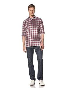 Orian Men's Plaid Shirt (Red Plaid)