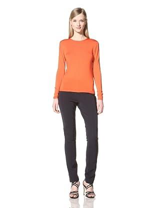 Pink Tartan Women's Keyhole Crew Neck Sweater (Orange)