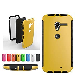 For Google Moto X 1st Gen Front + Back 2 in 1 Full Body Touch Screen Protector Hard Case Cover - YELLOW