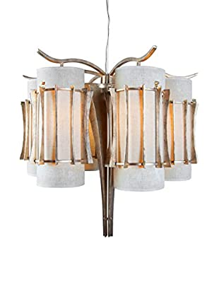 Varaluz Occasion 6-Light Chandelier, Zen Gold/Tan Silk