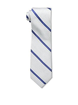 Bruno Piattelli Men's Stripe Silk Tie, Silver Navy