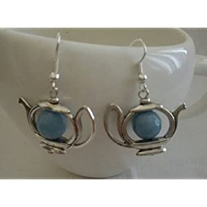 The Desi Soul German Silver Teapot With Light Blue Agates Earring
