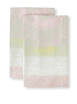 Garnier-Thiebaut Set of 2 Pensèe Rose Kitchen Towels