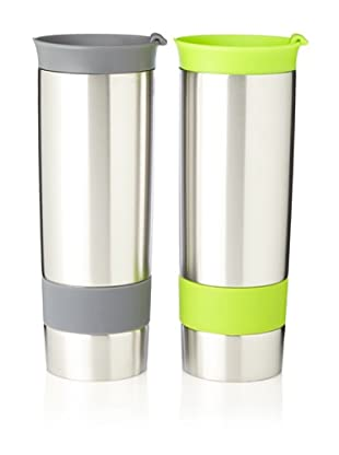 AdNArt Set of 2 The Hot Press Mugs (Grey/Lime)