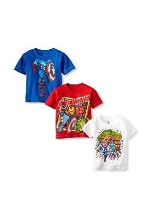 Freeze Boy's Marvel/Avengers 3-Pack T-Shirt Bundle (Royal/White/Red)