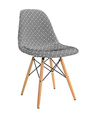 LO+DEMODA Stuhl 2er Set Wooden Patchwork Lines weiß/schwarz
