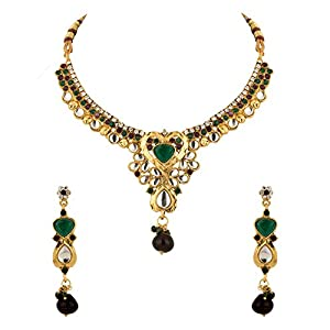 Voylla Necklace Set for Women With Green And White Colored Stones